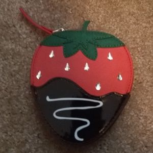 Kate Spade .. chocolate strawberry coin purse  New